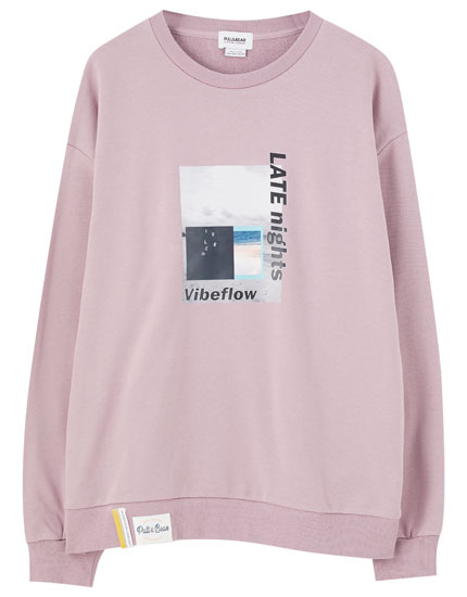 Long sweatshirt with illustration
