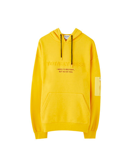 Yellow pouch pocket hoodie