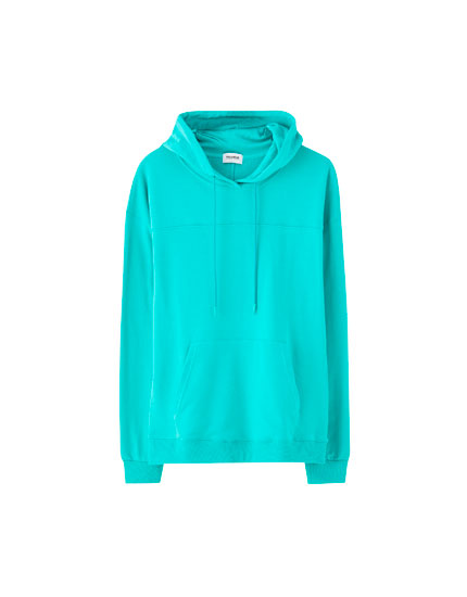 Coloured sweatshirt with pouch pocket
