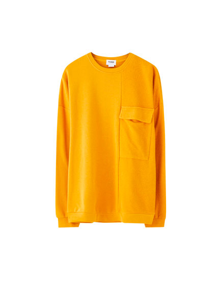 Contrast colour block sweatshirt with pocket