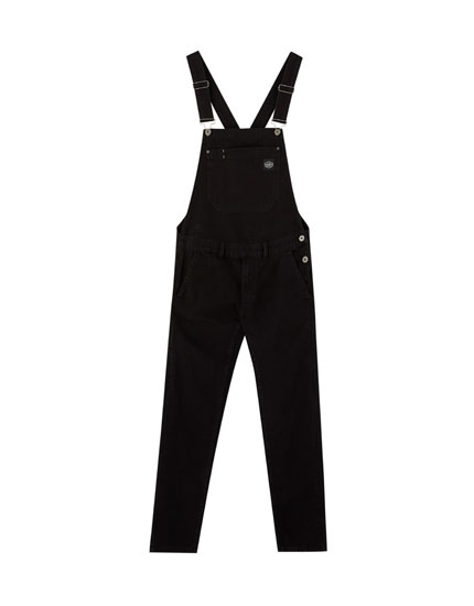 Long denim dungarees with pocket