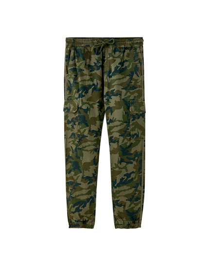 Camouflage cargo beach trousers with taping
