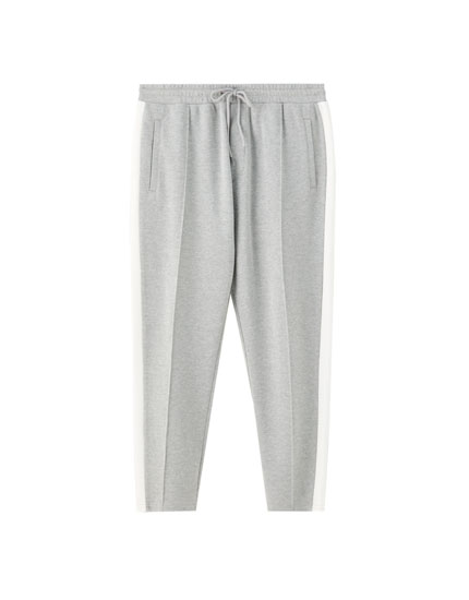 Pantalon jogging piqué contraste