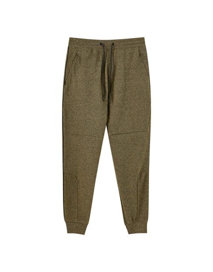 Piqué joggers with piping