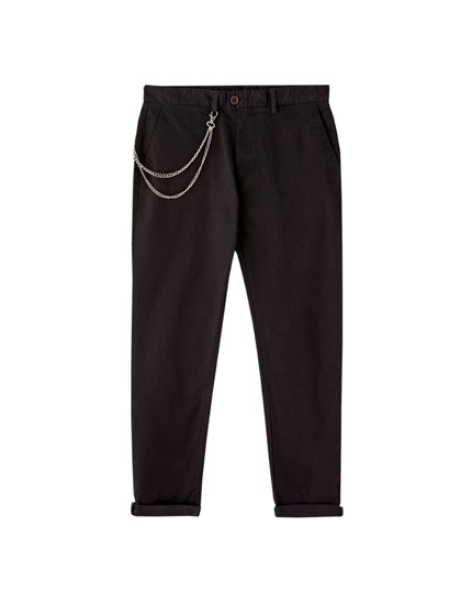 Chino trousers with waist chain