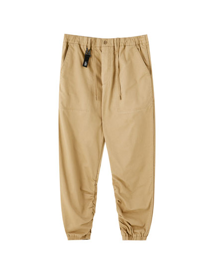 Lobster clasp beach trousers with gathering