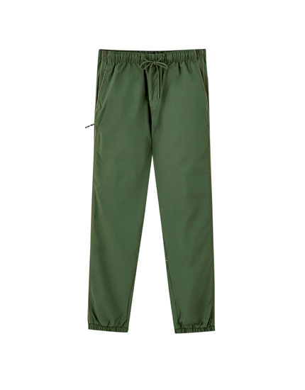 Khaki jogging trousers