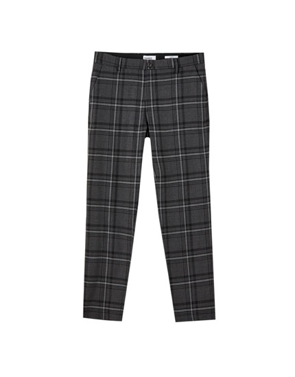 Slim fit chinos with a check print
