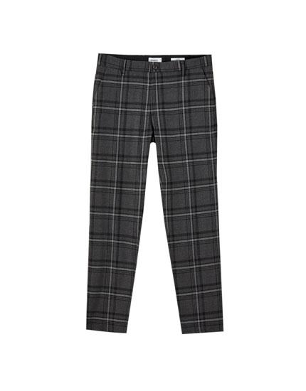 Καρό παντελόνι τσίνο slim fit