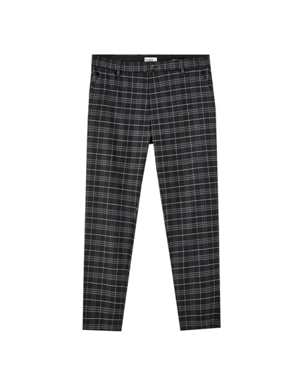 Slim fit chino trousers with a check print