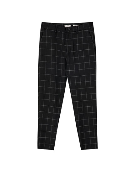 Black check tailored trousers