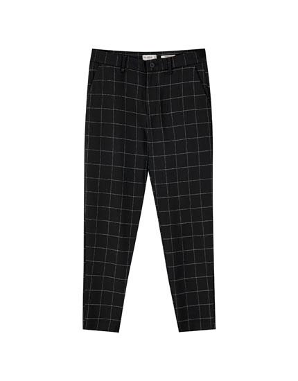 Μαύρο καρό παντελόνι tailoring fit