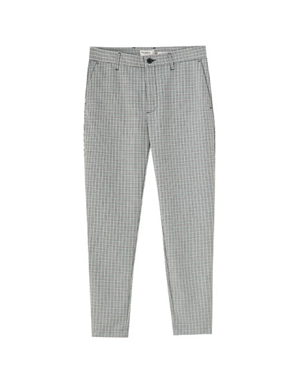 Check slim fit tailored trousers