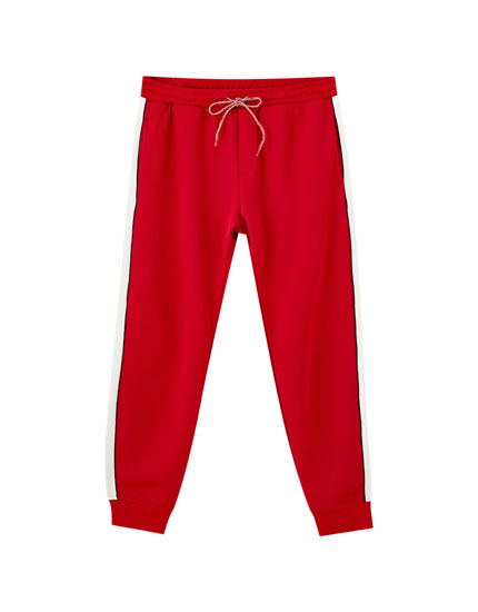 Joggers with red stripe