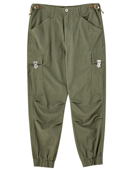 Cotton cargo trousers with elasticated hems