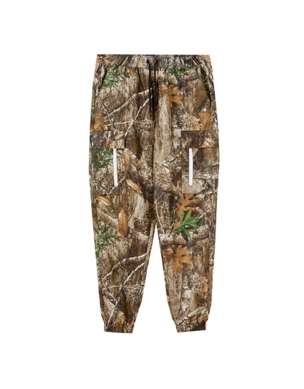 Leaf print cargo trousers