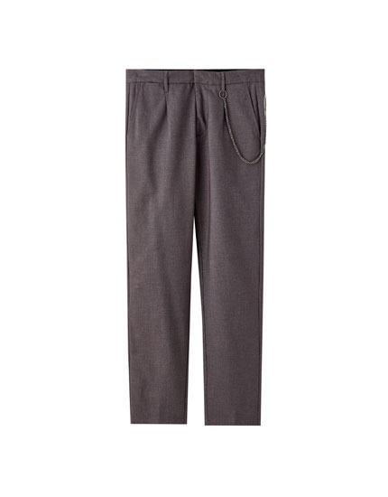 Tailored chino trousers with chain