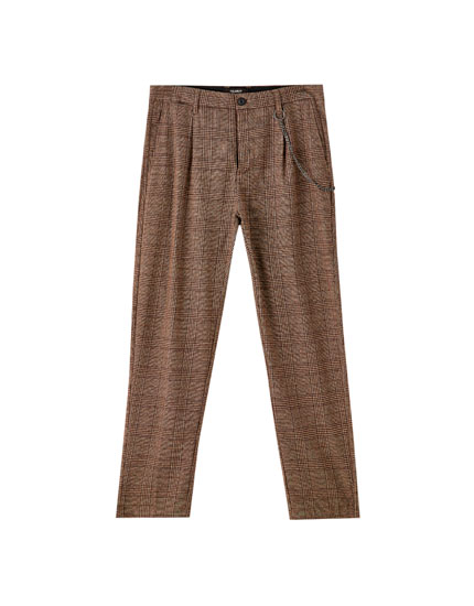 Check tailored chino trousers