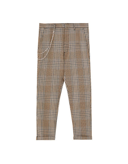 Pantalon coupe tailleur marron à carreaux