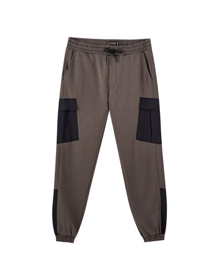 Contrast cargo jogging trousers
