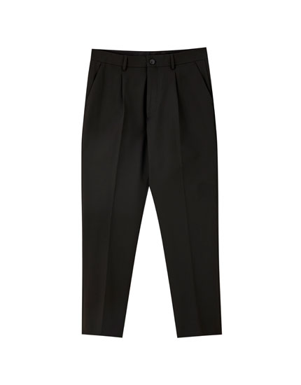 Slim fit tailored suit trousers