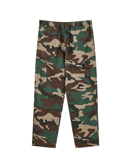 Camouflage print drawstring cargo trousers