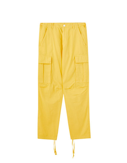 Yellow cargo trousers