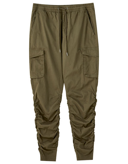 Creased-effect cargo trousers