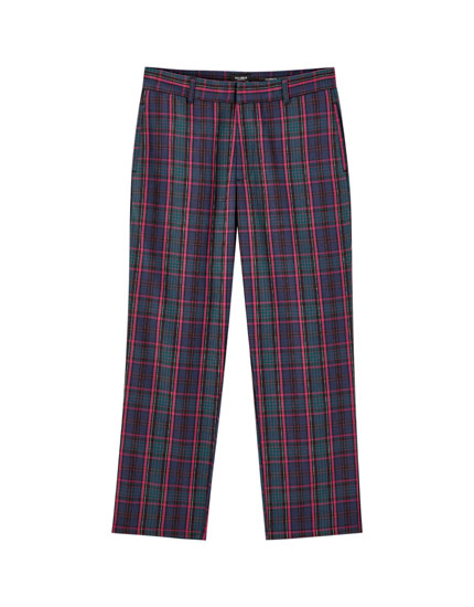 Oversized tartan check trousers