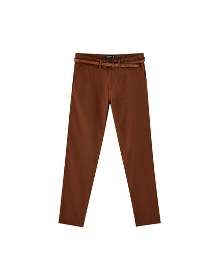 Pantalon chino skinny fit ceinture