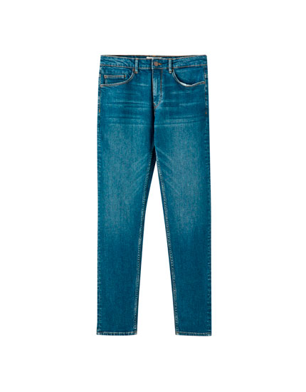 Jeans slim comfort fit bleu, finition usée