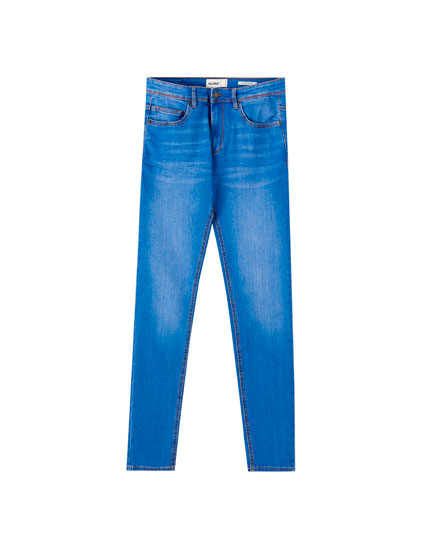 Bright blue super skinny jeans