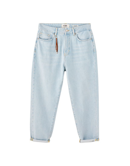 Relaxed fit bleached jeans with chain