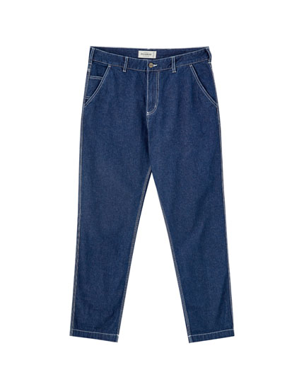 Worker-style jeans with seams