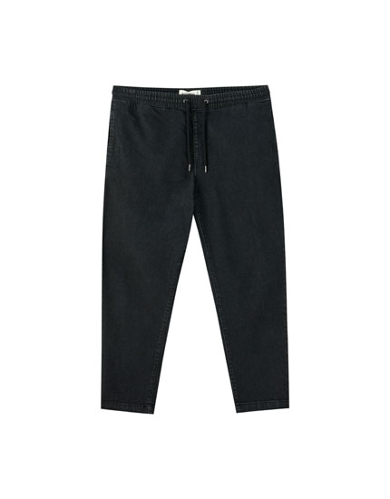 Denim jogger trousers