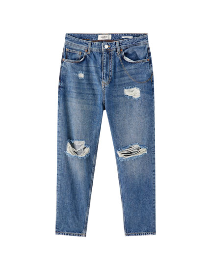 Jeans relaxed fit cadenas rotos