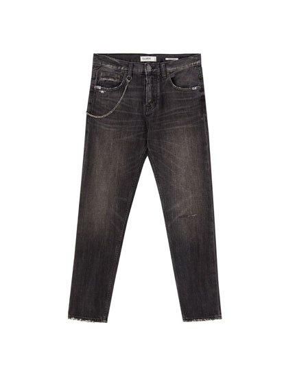 Jeans regular rotos cadena
