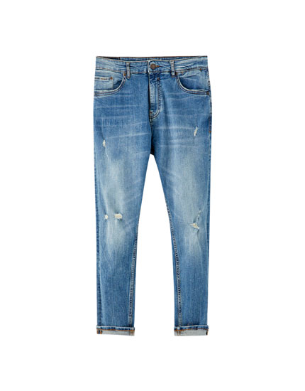 Jeans carrot fit rotos azul
