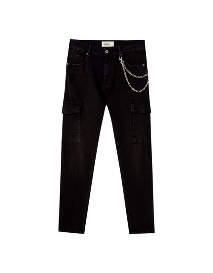 Denim cargo trousers with chain detail