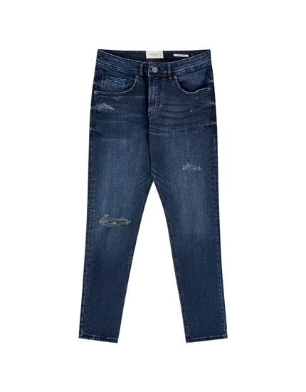 Τζιν παντελόνι superskinny premium με σκισίματα