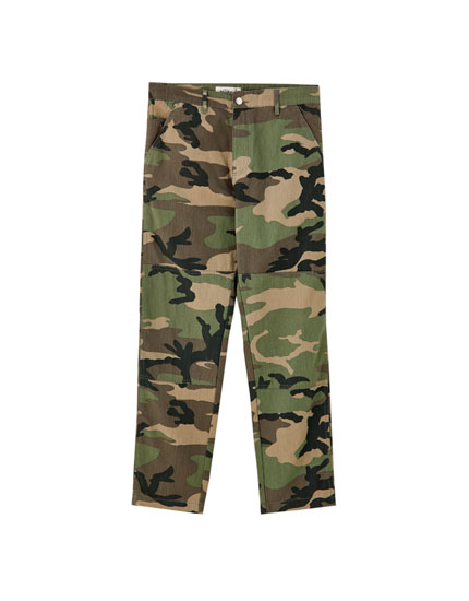 Camouflage trousers in denim fabric