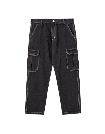Cargo jeans with contrast seams