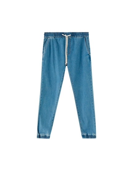 Jogging jeans with elastic waistband