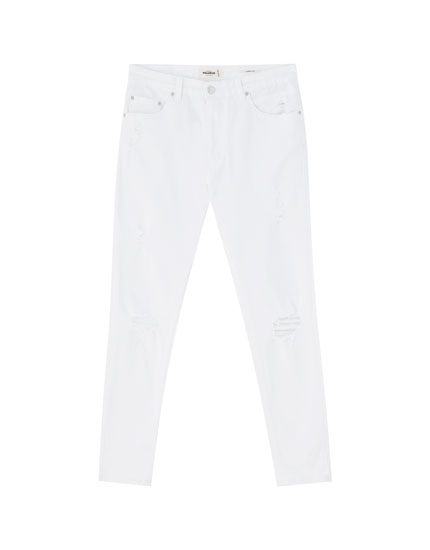 Ripped white carrot fit jeans