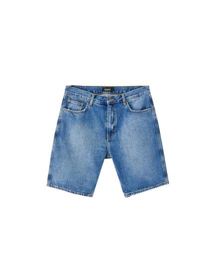 Dark blue loose fit denim Bermuda shorts