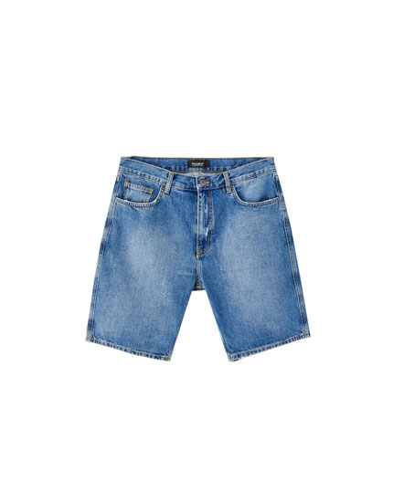 Loose fit denim Bermuda shorts