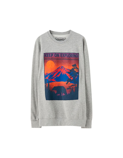 Hoodie with mountain illustration
