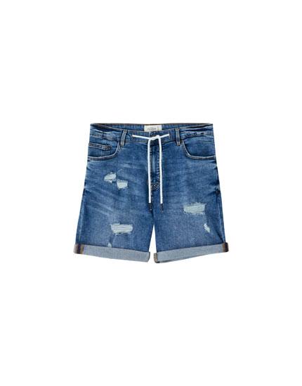 Bermudy jeansowe skinny fit z przetarciami