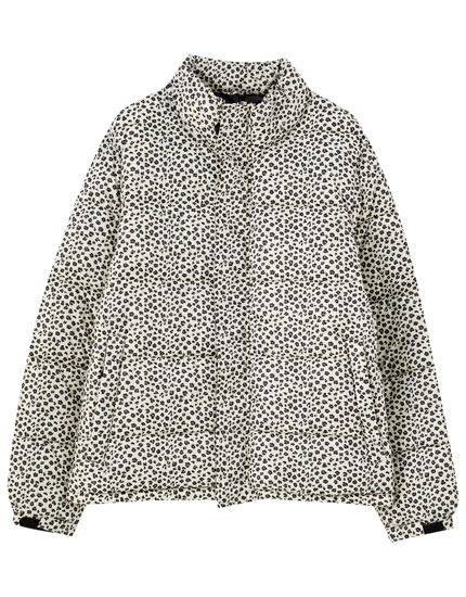 Contrast print puffer jacket