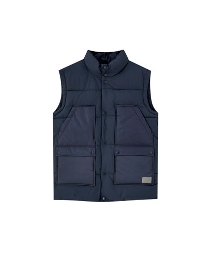 Blue quilted gilet